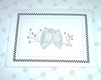 Romantic Owl Valentine'd Day Card, Owl Anniversary Card, Owl Wedding Card, Owls in Love, Happy Anniversary, Owl Love Card