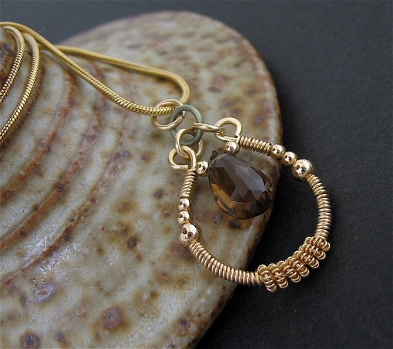 Brown Stone Wire Wrapped Necklace, Wired Stone Jewelry, Brown Gold Necklace, Wired Stone Necklace, Short Gemstone Necklace
