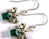 Green Christmas Package Earrings - Swarovski crystals and sterling silver