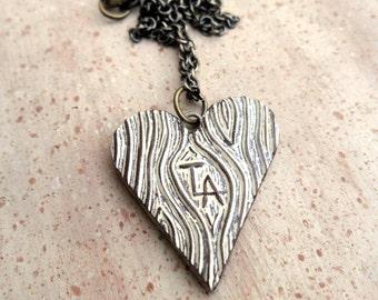 Wood Grain Faux Bois Heart Necklace - True Love Always - Valentine's Day Necklace