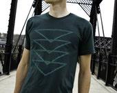 Topaz T-Shirt, Forest Green Men's Tshirt, Screenprinted Geometric Triangle Design