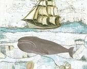 Whale Art. Beach Decor. Collage Mixed Media Print. 5x7 Mollusk Sea