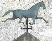 """Horse Painting Reproduction Print , 5x7"""" or 8x10"""" . The Wind Vane . Mixed Media Folk Giclee Art Print"""