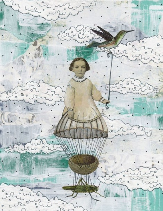 Surreal Art Print , Balloon Art Painting , Gilclee Print, Mixed Media Collage Painting , Whimsical Art Reproduction , 5x7. Print 6407