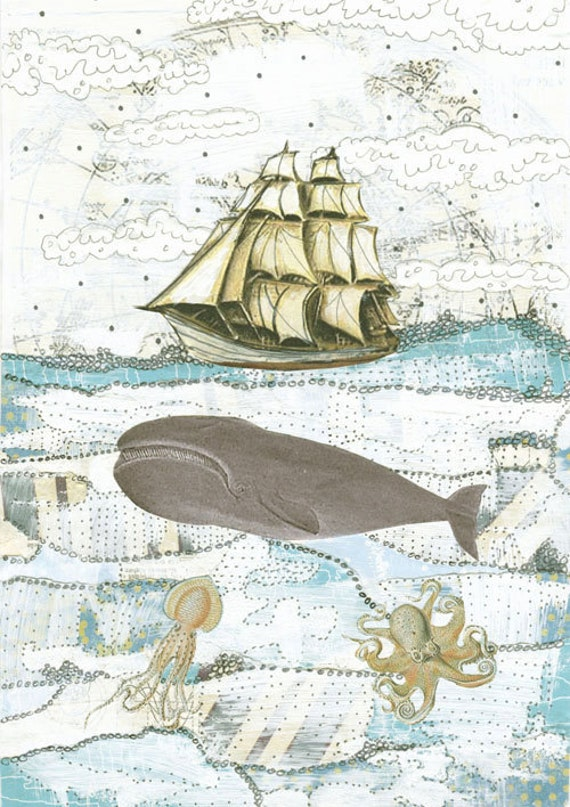 Whale Art. Beach Decor. Collage Mixed Media Print. 5x7 Mollusk Sea