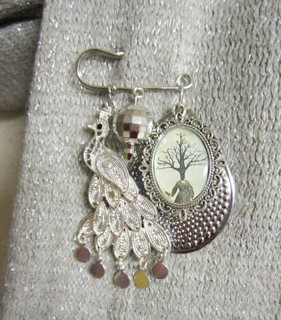Surreal Art Brooch Pin , Silver Shawl Pin or Scarf Pin , Mixed Media Jewelry , Whimsical Jewelry