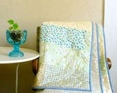 Country Home / Patchwork Quilt Cotton & Light Wool / Pastel Yellow Green Blue / Bedding