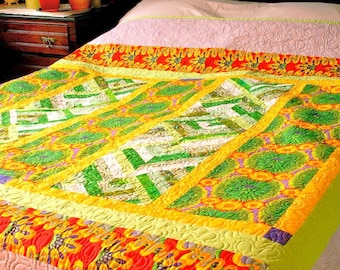 "Queen Quilt Bright Sunny Colors ""Midday Summer Garden"" Patchwork Bedding"