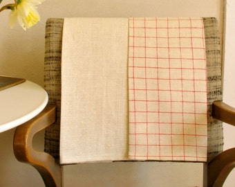 Linen Kitchen Towels / Hand or Dish Towels / Simple Red & Natural Set of 2