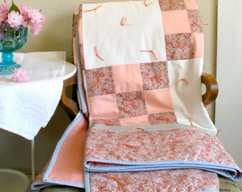Patchwork Tied Quilt Cotton Blends & Virgin Wool  / Peach Pink White Blue Prints