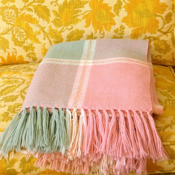 Churchill Weavers Woven Wool Throw Classic Couch Blanket in Dusty Pink Mint Green Pale Orange Natural White