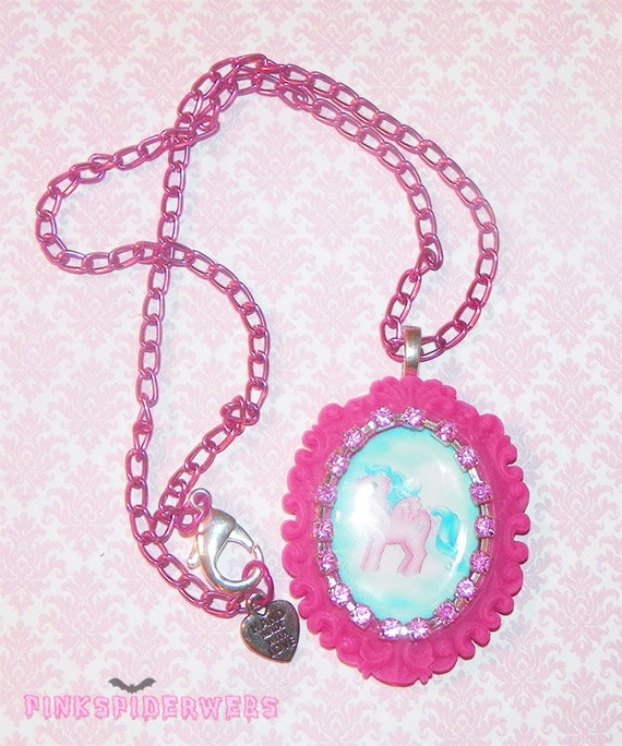 Hot Pink My Little Pony Cameo Necklace