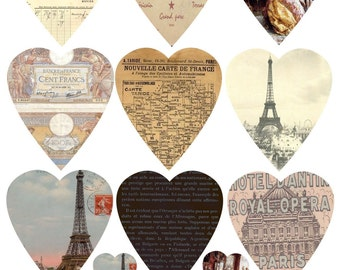 INSTANT DOWNLOAD DIGITAL Collage Sheet French Ephemera Hearts Paris Eiffel Tower Tags Scrapbopoking Paper Crafts Greeting Cards