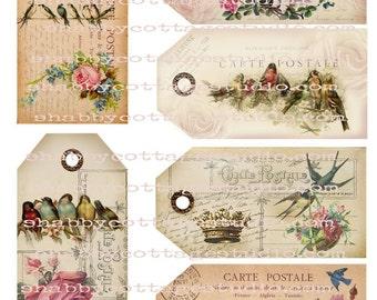 INSTANT DOWNLOAD Digital TAGS U Print Floral and Bird Postcard