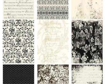 INSTANT DOWNLOAD DIGITAL aTc Backgrounds Romantic Black and Cream