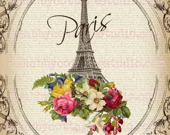 Instant Download DIGITAL Large Image Paris Flowers Eiffel Tower