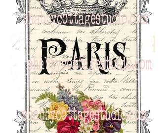 INSTANT DOWNLOAD DIGITAL Large Iamge French Label Paris Crown Flower Basket Fabric Transfer