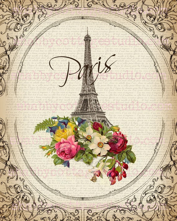 instant download digital large image paris flowers eiffel. Black Bedroom Furniture Sets. Home Design Ideas