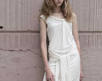 silk knit draped neckline dress