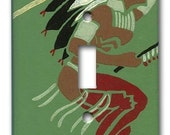 American Indian 1950's Vintage Wallpaper Switch Plate