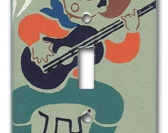 The Guitar Cowboy 1950's Vintage Wallpaper Switch Plate