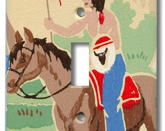 Native American Indian Brave on Horse Single Switch Plate 1940's Vintage Wallpaper
