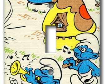 Smurf Trumpet, Whistle & Sing Single Switch Plate 1981 Vintage Smurf Wallpaper
