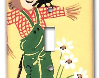 Unsuccessful Scarecrow 1950's Vintage Wallpaper Switch Plate
