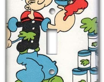I Luvs Me Spinach 1970's Vintage Wallpaper Switch Plate Popeye