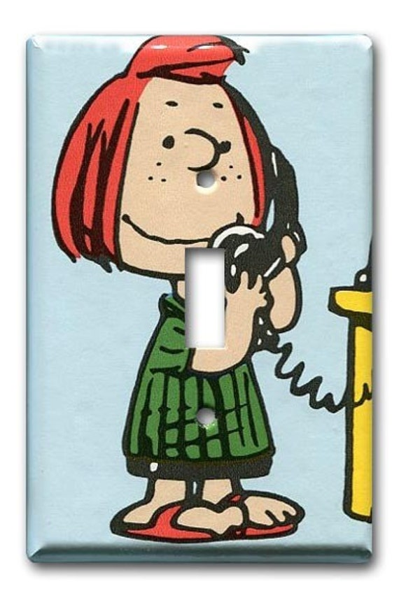Peppermint Patty on Phone Single Switch Plate 1970's Vintage Wallpaper Peanuts