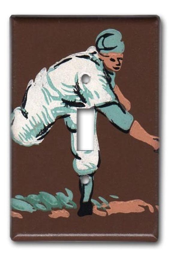 Strike One Baseball 1950's Vintage Wallpaper Switch Plate