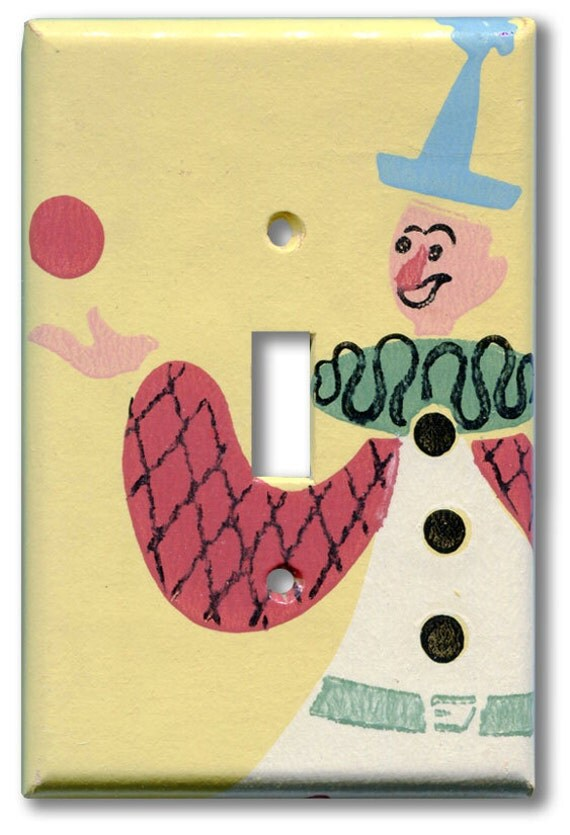 Circus Clown Juggler 1940's Vintage Wallpaper Switch Plate