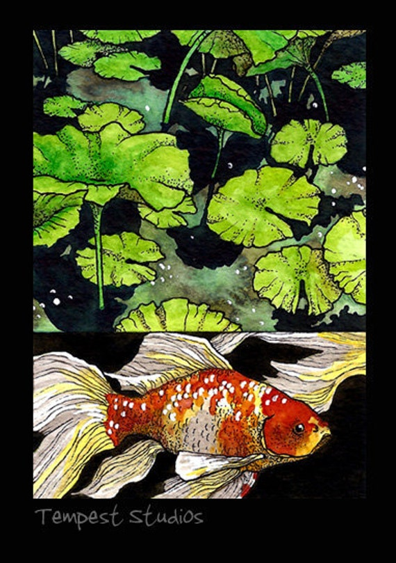 Butterfly Goldfish Original ACEO 2.5x3.5 Mini Watercolor Trading Card Art