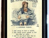 Be Kind To Animals Pledge Cigarette Case Poster Art Non-Cruelty Society Business Card Case Wallet New