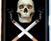 Skull and Crossed Cigarettes Cigarette Case Business card Case or Wallet Jolly Rogers Punk Rock