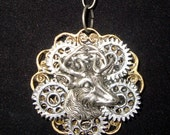 Victorian Steampunk Necklace Buck the System Deer Head Taxidermy Gear