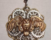 Victorian Steampunk Necklace Industrious Owl Clock Gear