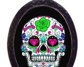 Sugar Skull Necklace Mexican Day of the Dead Necklace Tattoo Flash Art Pendant