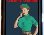Wicked Woman Cigarette Case Business Card Holder Wallet Vintage retro Imagery Pulp Redhead Smoking