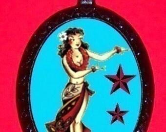 Hula Star Girl Pinup Pendant Necklace Tattoo Rockabilly Blue Old School Tattoo Flash New
