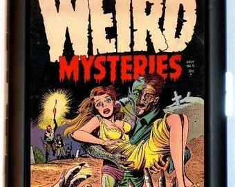 Weird Mysteries Cigarette Case or Business card Case or Wallet Comic Pop Art Fifties strange