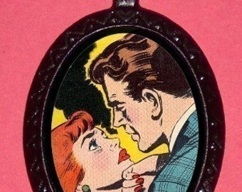Comic Book Kissing Couple NECKLACE Romantic Romance necklace New Retro POP ART