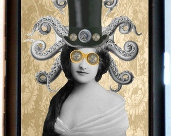 Steampunk Victorian Octopus Lady Cigarette Case or ID Wallet or Business Card Holder