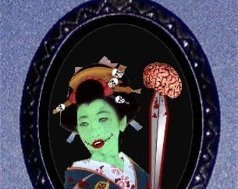 Zombie Geisha Psychobilly Pendant Necklace by Sweetheartsinner Undead Zombie Apocalypse Living Dead