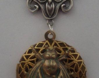 Victorian Brass-Tone Locket Pendant Big Brass Fly Necklace
