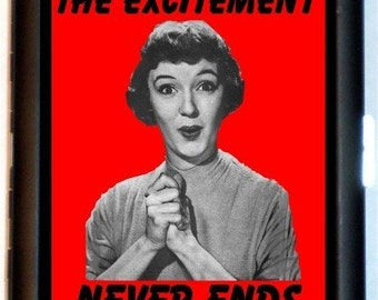 Retro Humor Cigarette Case Excitement Never Ends Kitsch 1950's Housewife Funny Saying ID Business Card Credit Card Holder Wallet