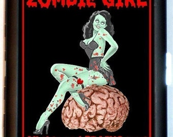 Zombie Girl Pinup Cigarette Case Business Card Holder Wallet All This and Brains Too Psychobilly Pin Up Girl
