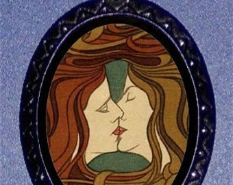 Alphonse Mucha Victorian Kiss Necklace New Edwardian Art Nouveau Lesbian Lesbiana
