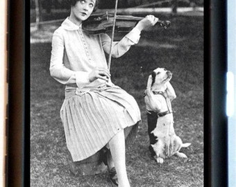 Woman Playing Violin Cigarette Case Business Card Case or Wallet Dog Tricks