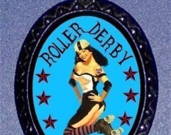 Roller Derby Doll Brawler Punk necklace Pinup Princess Pendant Ballchain NEW